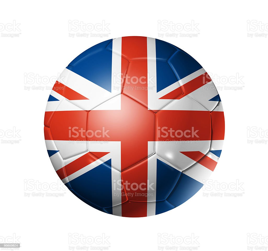 Soccer football ball with UK flag stock photo