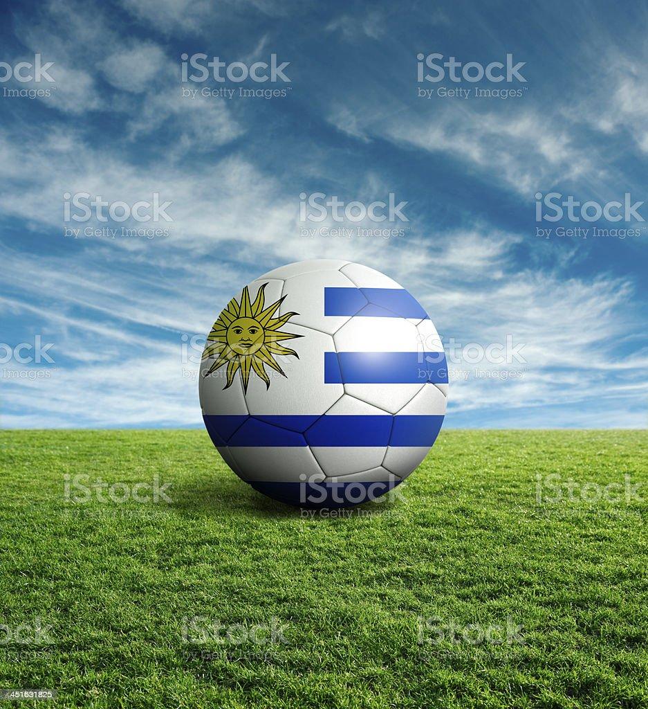 Soccer football ball with Uruguay flag royalty-free stock photo