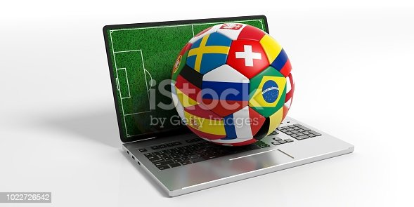 istock Soccer football ball with world flags on a computer, isolated on white background. 3d illustration 1022726542