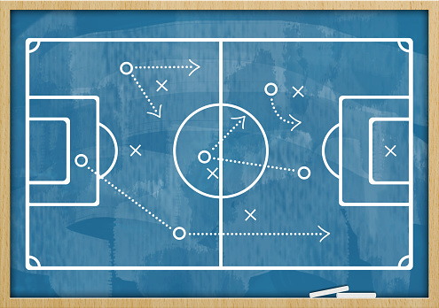 Soccer Football Blue Board Concept Stock Photo - Download Image Now