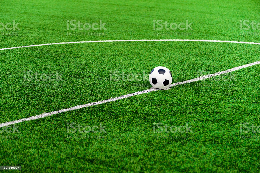 Soccer football field stadium grass line ball stock photo