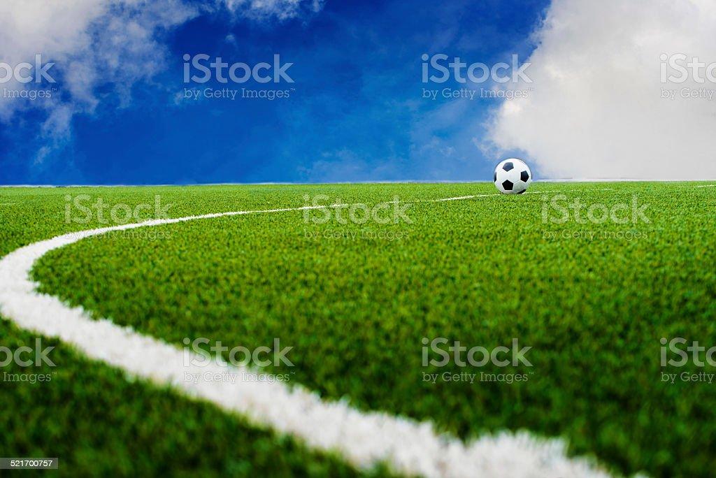 Soccer football field with sky stock photo