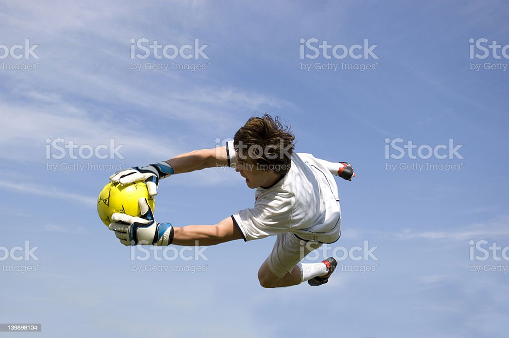 Soccer - Football Goal Keeper Making Save royalty-free stock photo