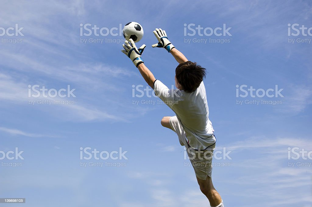 Soccer Football Goal Keeper making Save royalty-free stock photo