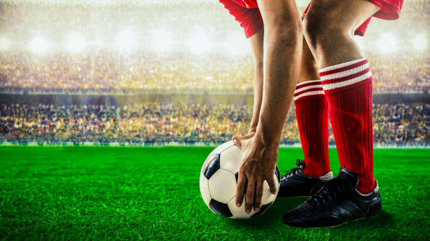 soccer football kick off stock photo