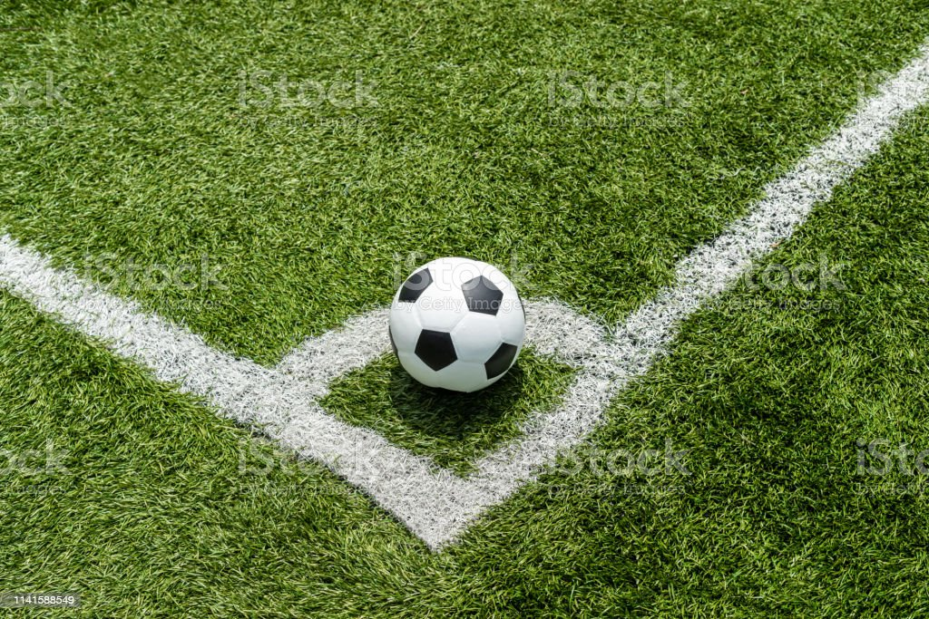 soccer Football on Corner kick line of ball and a soccer field ,...
