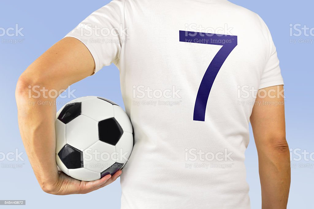 soccer football player in white team stock photo