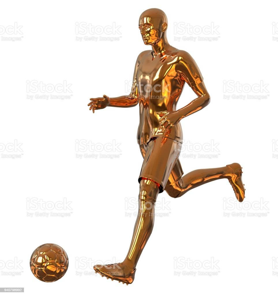 2b76b55060 Soccer football player of gold isolated on white 3d illustration - Stock  image .