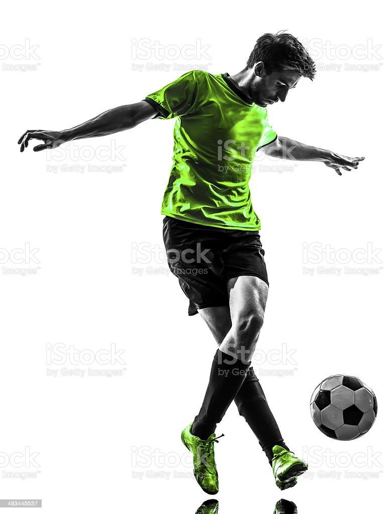 Jugador de fútbol fútbol hombre joven driblar silueta - Foto de stock de Adulto libre de derechos