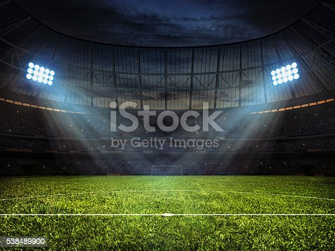 istock Soccer football stadium with floodlights 538489900