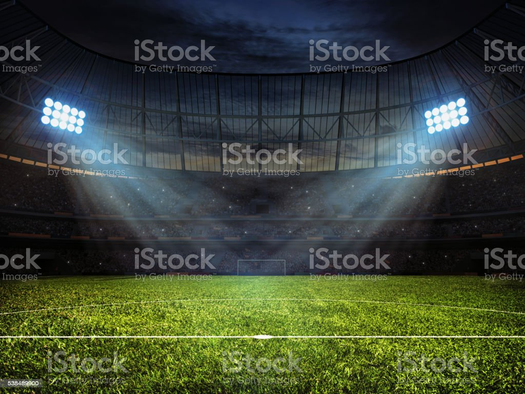 Soccer football stadium with floodlights stock photo