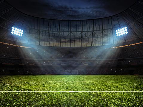 Photo libre de droit de Stade De Football Avec Des Éclairages De Football banque d'images et plus d'images libres de droit de {top keyword}