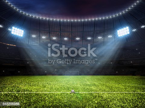 istock Soccer football stadium with floodlights 545356586
