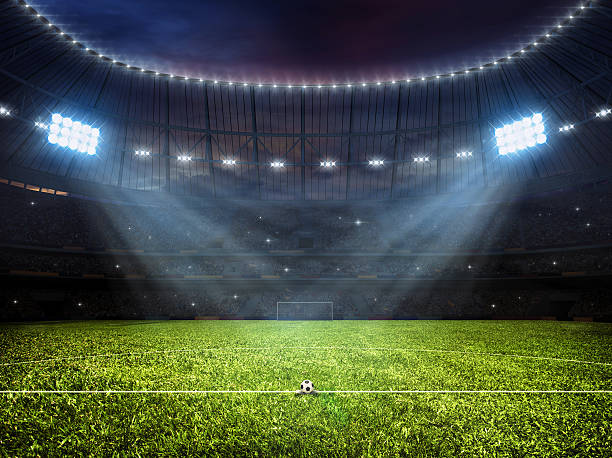 soccer football stadium with floodlights - soccer field stock photos and pictures