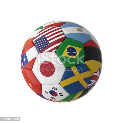 istock Soccer football with country flags isolated on white background. World championship. 3d illustration. 970822988
