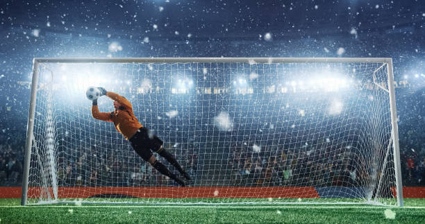 soccer game moment  on professional stadium - professional sport stock photos and pictures