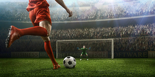 soccer game moment with goalkeeper - soccer stock photos and pictures