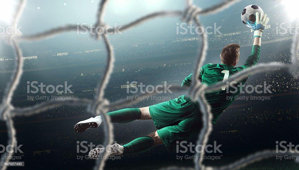 Fußballspiel moment mit Torwart – Foto