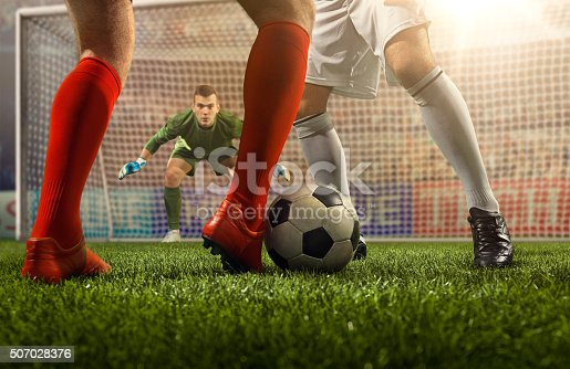 istock Soccer game moment with goalkeeper 507028376