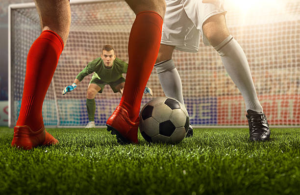 soccer game moment with goalkeeper - soccer league stock pictures, royalty-free photos & images