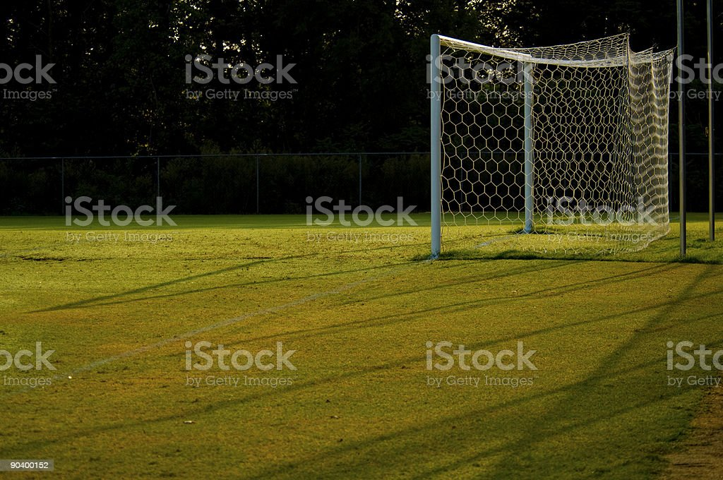 Soccer Goal and Soccer Net on Soccer Field during Soccer Game royalty-free stock photo