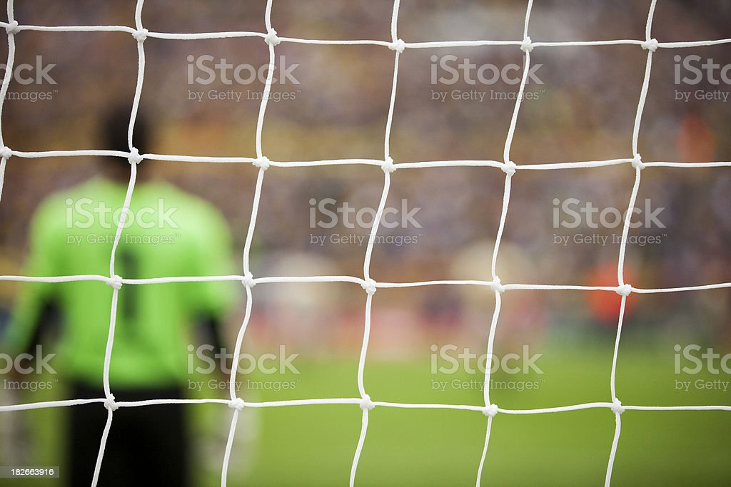 Soccer Goal Box With Goalie royalty-free stock photo