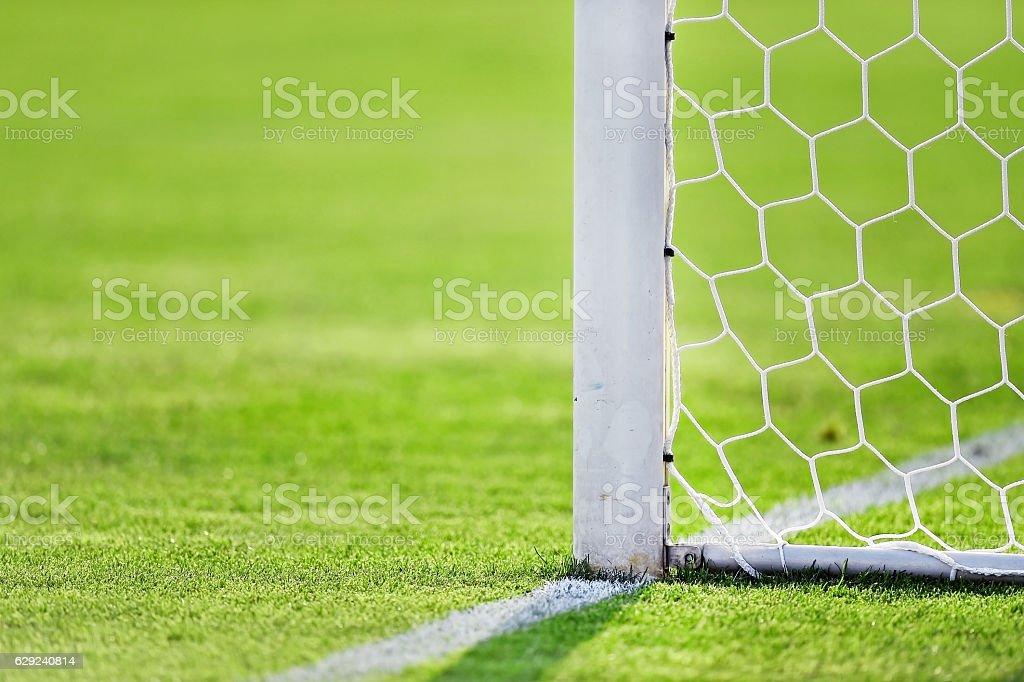 Soccer goal detail stock photo