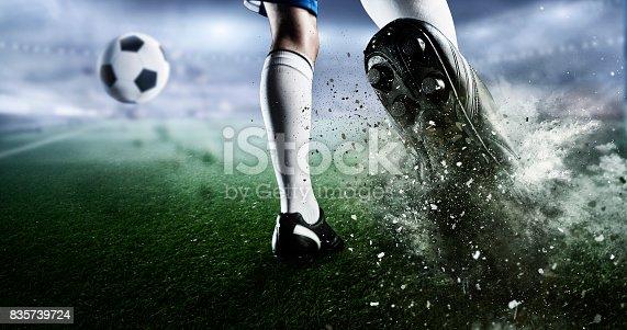 istock Soccer goal moment. Mixed media . Mixed media 835739724