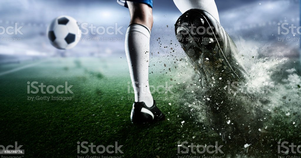 Soccer goal moment. Mixed media . Mixed media stock photo