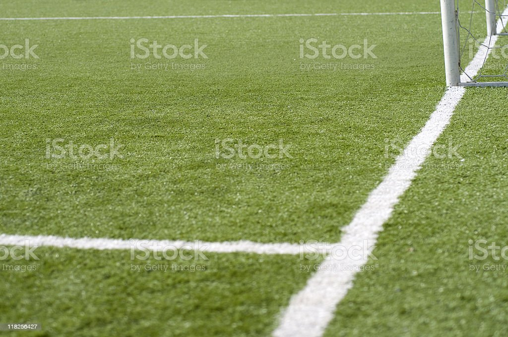 Soccer goal net on field with marking lines, Turkey, Istanbul royalty-free stock photo