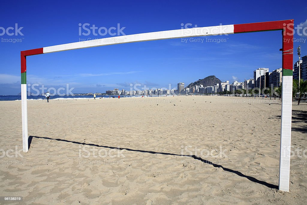 soccer goal on copacabana beach in rio de janeiro brazil royalty-free stock photo