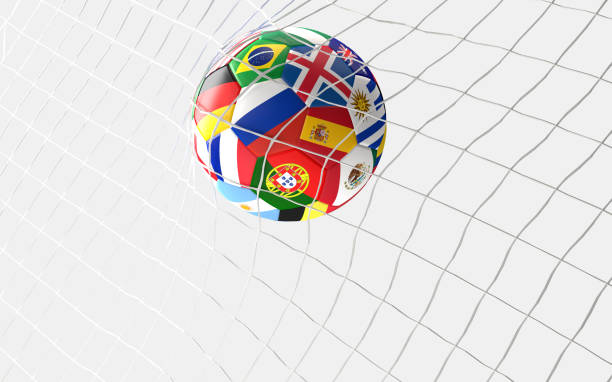 fotbollsmål. fotboll boll flaggor koncept i fotboll netto 3d-rendering - football portugal flag bildbanksfoton och bilder