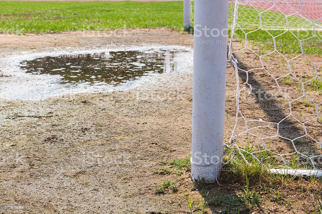 Soccer goal with grass field. stock photo