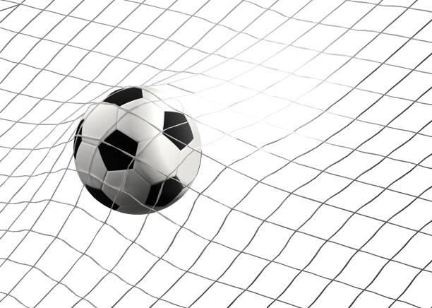 Fußballtor mit Fußball bei Fussball net 3D-Illustration – Foto
