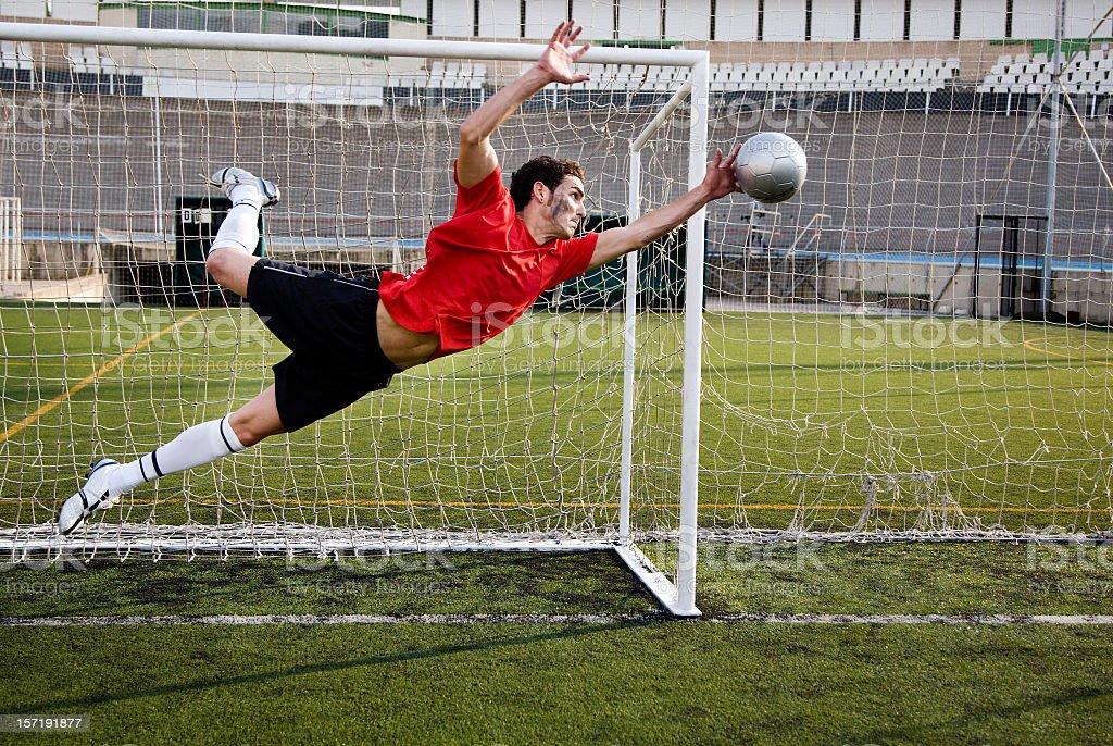 Fußball Torhüter Fangen des Balls. – Foto