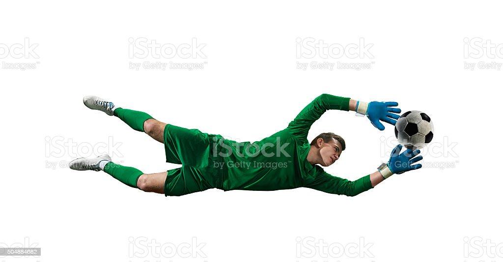 Soccer goalkeeper isolated stock photo