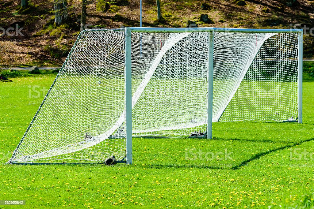 Soccer goals stock photo