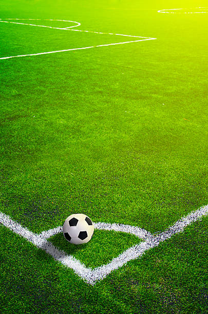 Fußball-grass field mit Kennzeichnung und ball, Sport – Foto