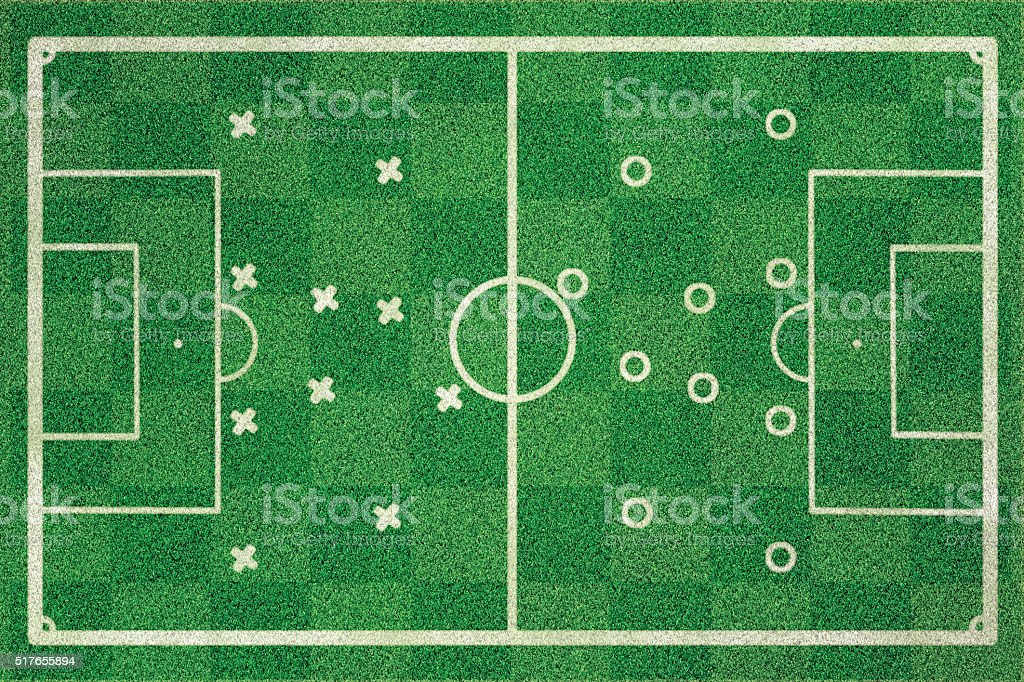 Soccer ground with players on spot stock photo