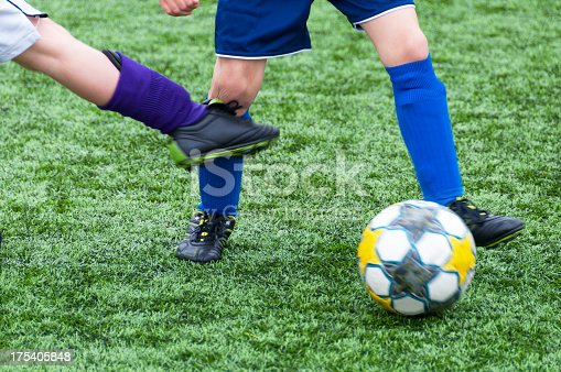istock Soccer, kick on the knee 175405848