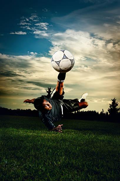 Soccer kick stock photo