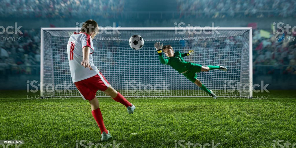 Soccer Kids Player Scoring A Goal Goalkeeper Tries To Hit ...