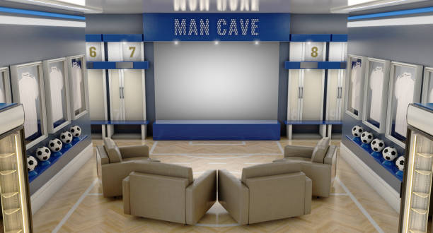 Soccer Man Cave Interior A well lit interior of a soccer themed man cave with sports memorabilia, lockers and large television screen surrounded by sofas - 3D render man cave stock pictures, royalty-free photos & images