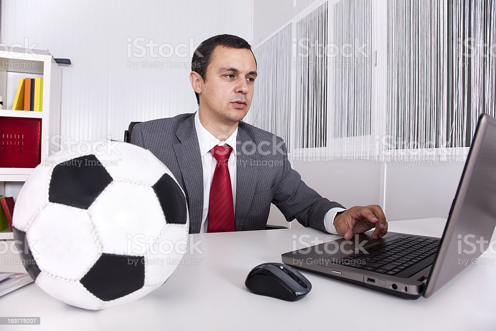 soccer manager at the office royalty free stock photo