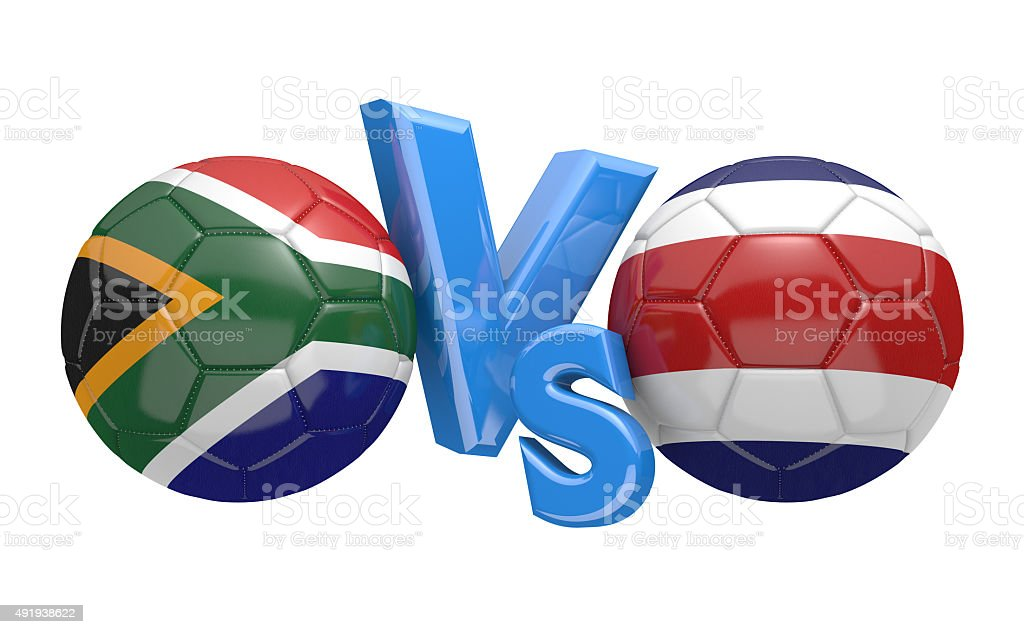 Soccer match between national teams South Africa and Costa Rica stock photo