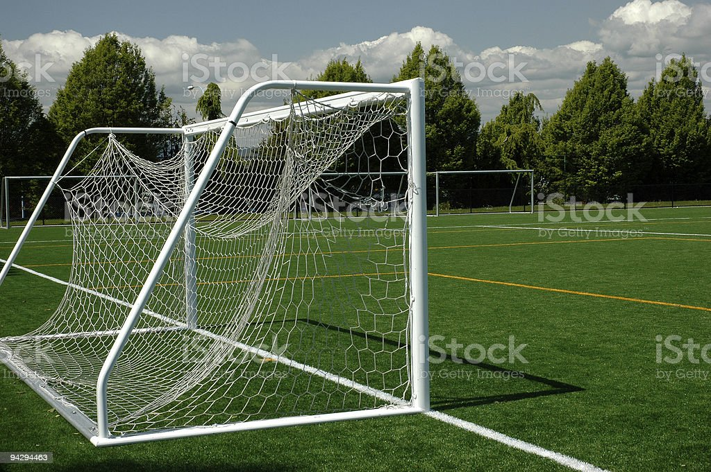Soccer net and field royalty-free stock photo