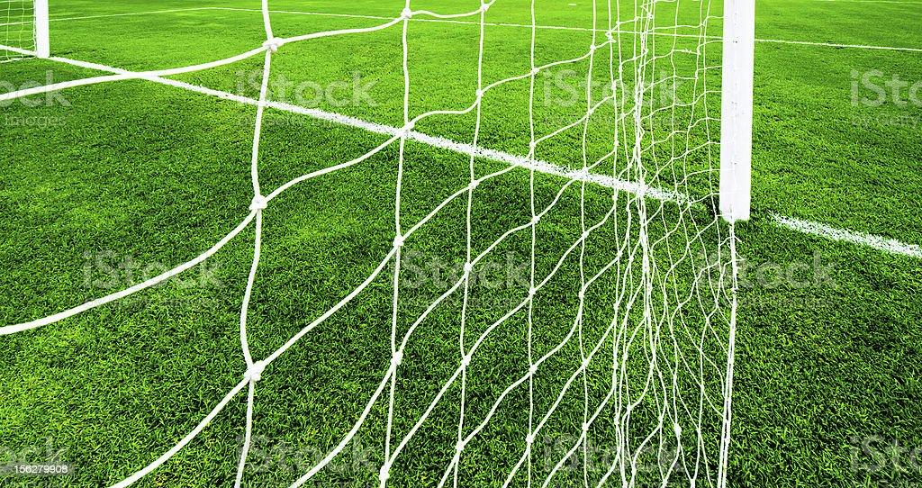 soccer net on green grass royalty-free stock photo