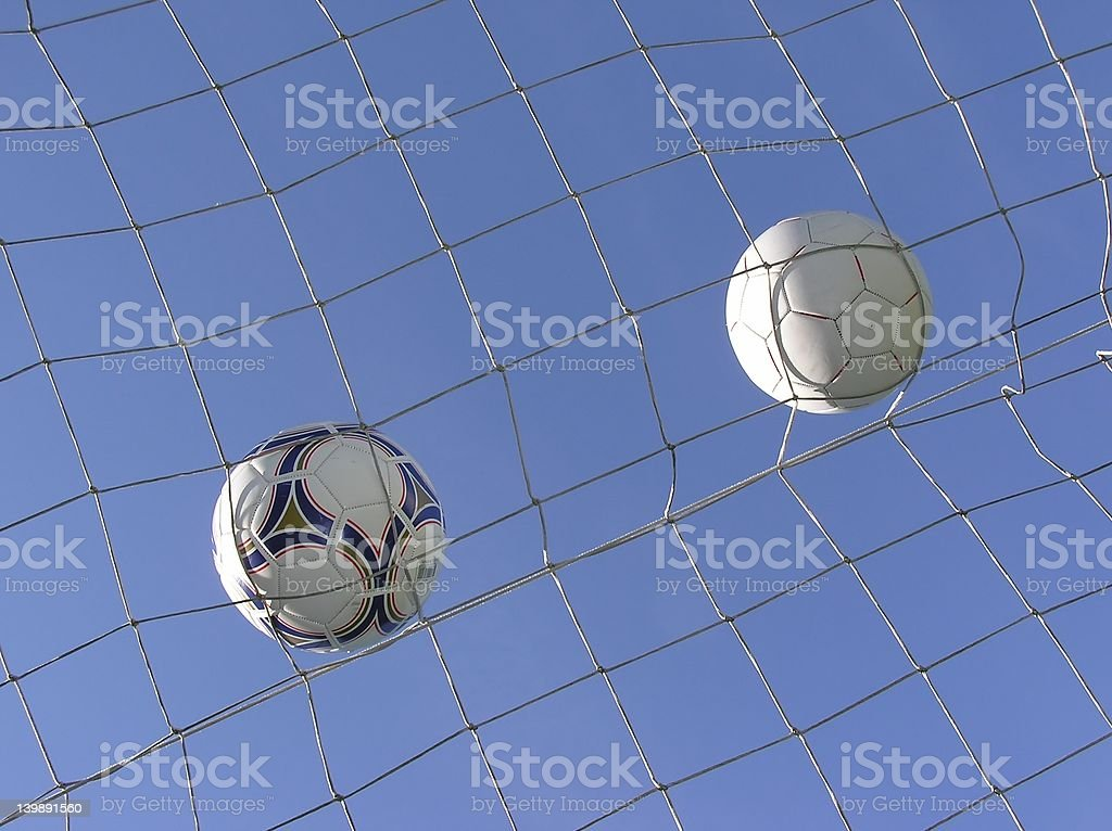 soccer net with two balls royalty-free stock photo