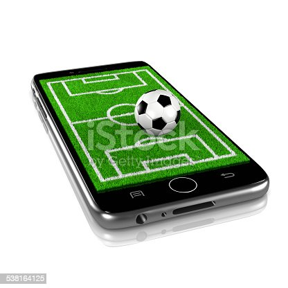 istock Soccer on Smartphone, Sports App 538164125