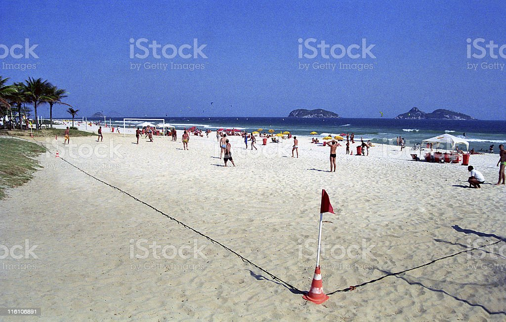 Soccer on the beach stock photo